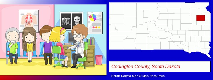 a clinic, showing a doctor and four patients; Codington County, South Dakota highlighted in red on a map