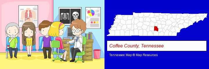 a clinic, showing a doctor and four patients; Coffee County, Tennessee highlighted in red on a map