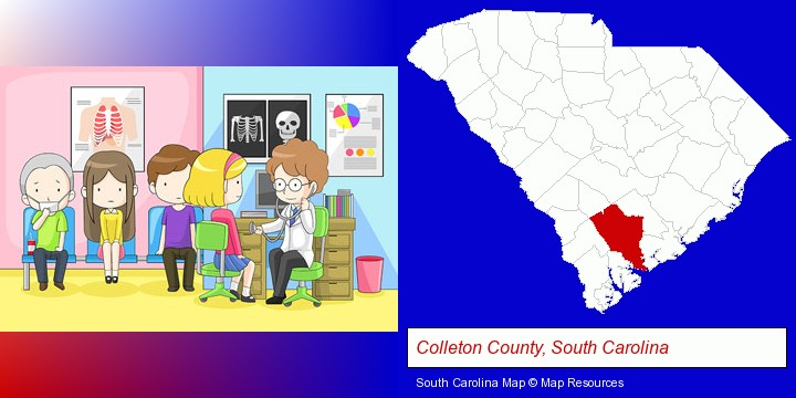 a clinic, showing a doctor and four patients; Colleton County, South Carolina highlighted in red on a map