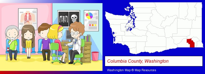 a clinic, showing a doctor and four patients; Columbia County, Washington highlighted in red on a map