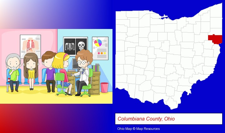 a clinic, showing a doctor and four patients; Columbiana County, Ohio highlighted in red on a map