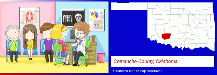 a clinic, showing a doctor and four patients; Comanche County, Oklahoma highlighted in red on a map