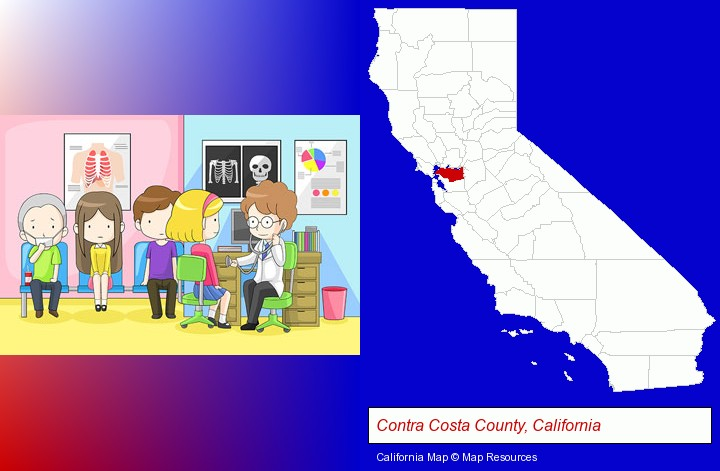 a clinic, showing a doctor and four patients; Contra Costa County, California highlighted in red on a map