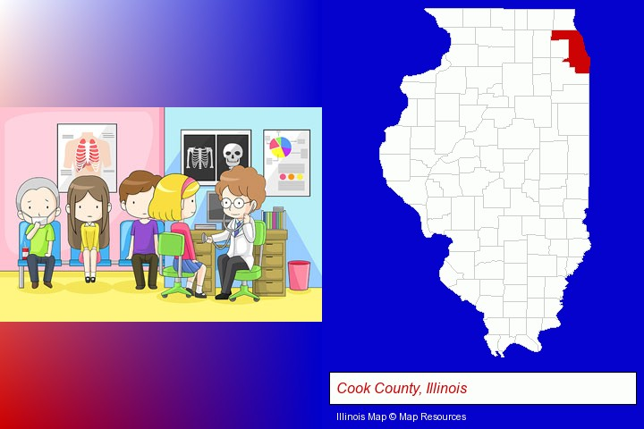 a clinic, showing a doctor and four patients; Cook County, Illinois highlighted in red on a map
