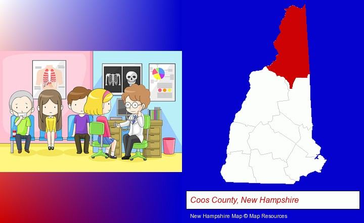 a clinic, showing a doctor and four patients; Coos County, New Hampshire highlighted in red on a map