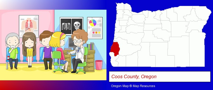 a clinic, showing a doctor and four patients; Coos County, Oregon highlighted in red on a map