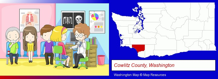 a clinic, showing a doctor and four patients; Cowlitz County, Washington highlighted in red on a map