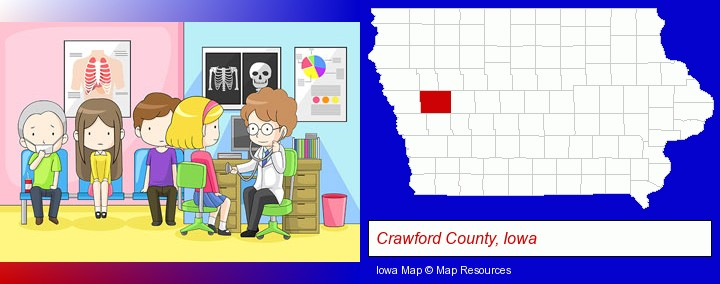 a clinic, showing a doctor and four patients; Crawford County, Iowa highlighted in red on a map