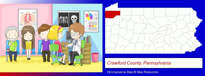 a clinic, showing a doctor and four patients; Crawford County, Pennsylvania highlighted in red on a map
