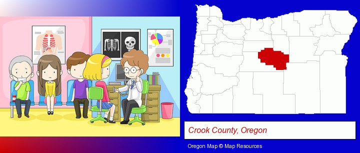 a clinic, showing a doctor and four patients; Crook County, Oregon highlighted in red on a map