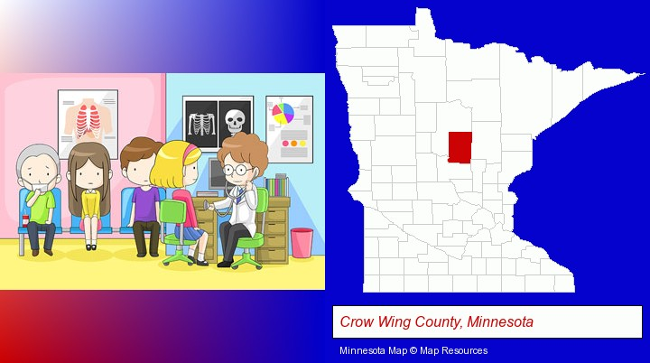 a clinic, showing a doctor and four patients; Crow Wing County, Minnesota highlighted in red on a map