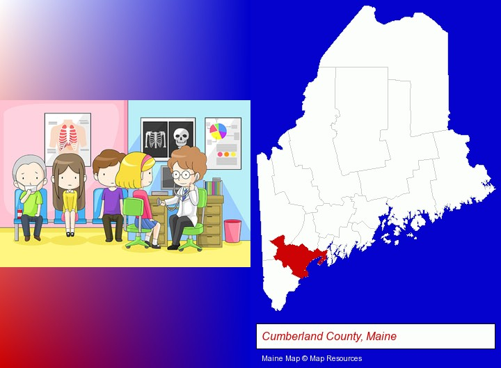 a clinic, showing a doctor and four patients; Cumberland County, Maine highlighted in red on a map