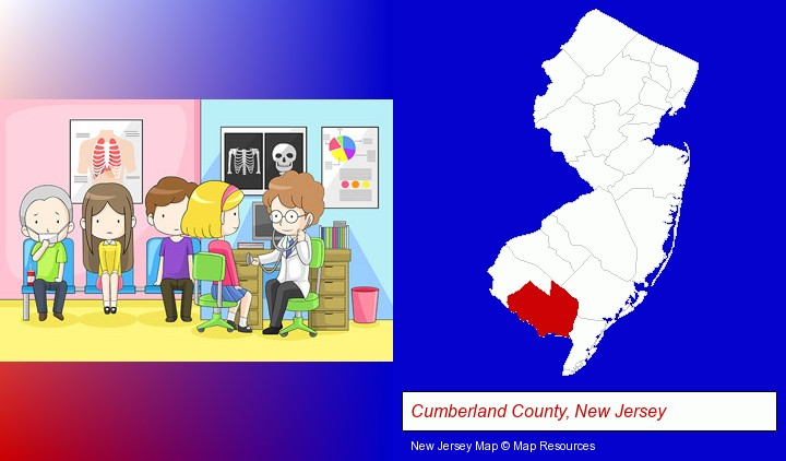 a clinic, showing a doctor and four patients; Cumberland County, New Jersey highlighted in red on a map