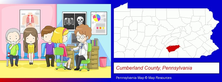 a clinic, showing a doctor and four patients; Cumberland County, Pennsylvania highlighted in red on a map