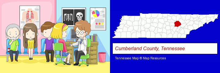 a clinic, showing a doctor and four patients; Cumberland County, Tennessee highlighted in red on a map