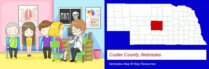 a clinic, showing a doctor and four patients; Custer County, Nebraska highlighted in red on a map