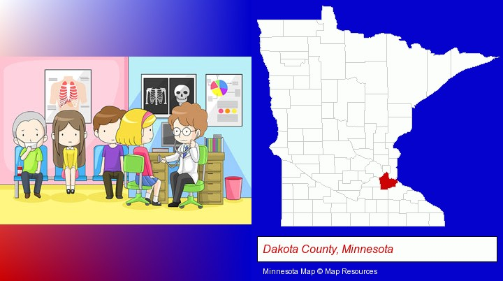 a clinic, showing a doctor and four patients; Dakota County, Minnesota highlighted in red on a map