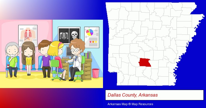 a clinic, showing a doctor and four patients; Dallas County, Arkansas highlighted in red on a map