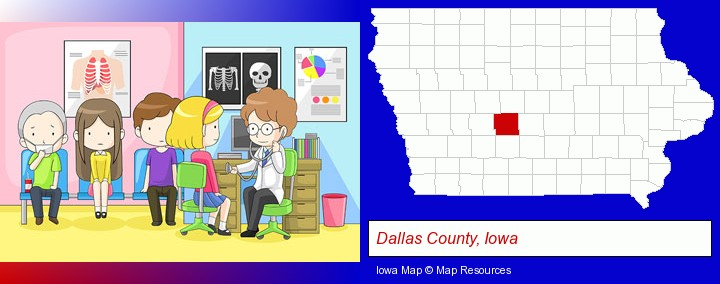 a clinic, showing a doctor and four patients; Dallas County, Iowa highlighted in red on a map