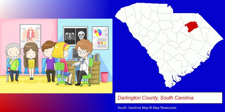 a clinic, showing a doctor and four patients; Darlington County, South Carolina highlighted in red on a map