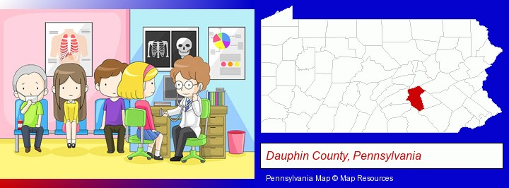 a clinic, showing a doctor and four patients; Dauphin County, Pennsylvania highlighted in red on a map