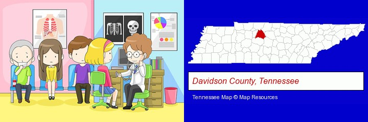 a clinic, showing a doctor and four patients; Davidson County, Tennessee highlighted in red on a map