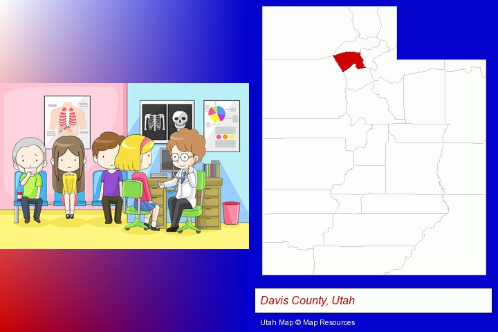 a clinic, showing a doctor and four patients; Davis County, Utah highlighted in red on a map
