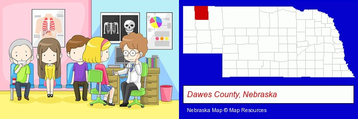 a clinic, showing a doctor and four patients; Dawes County, Nebraska highlighted in red on a map