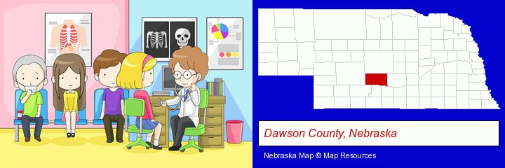 a clinic, showing a doctor and four patients; Dawson County, Nebraska highlighted in red on a map
