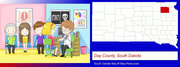 a clinic, showing a doctor and four patients; Day County, South Dakota highlighted in red on a map