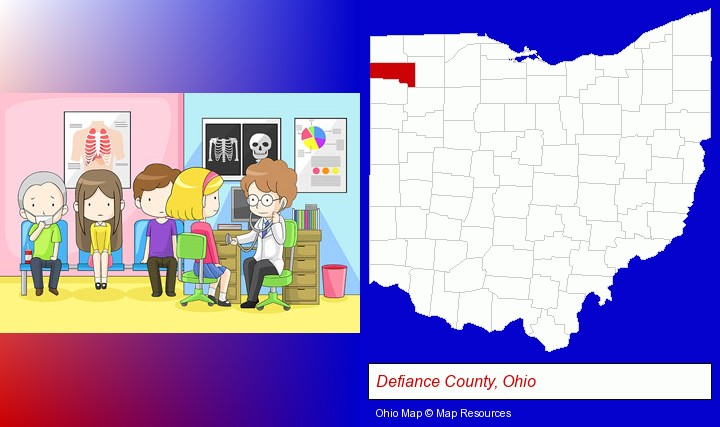 a clinic, showing a doctor and four patients; Defiance County, Ohio highlighted in red on a map