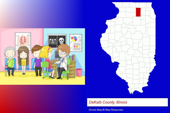 a clinic, showing a doctor and four patients; DeKalb County, Illinois highlighted in red on a map