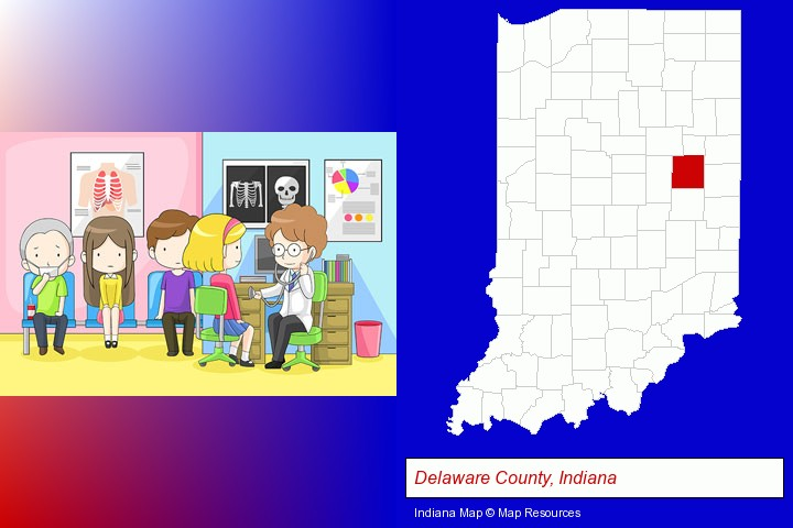 a clinic, showing a doctor and four patients; Delaware County, Indiana highlighted in red on a map