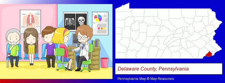 a clinic, showing a doctor and four patients; Delaware County, Pennsylvania highlighted in red on a map