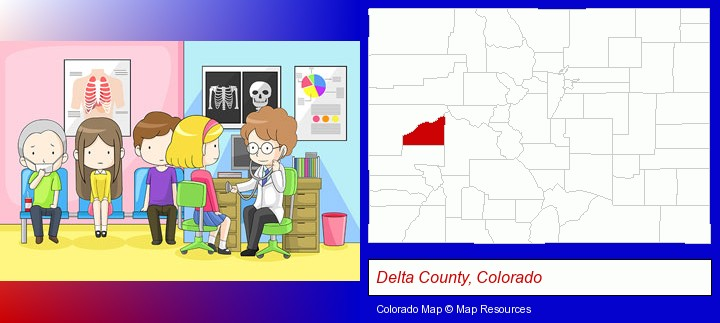 a clinic, showing a doctor and four patients; Delta County, Colorado highlighted in red on a map