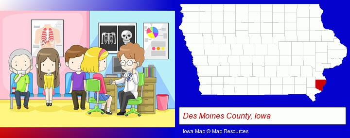 a clinic, showing a doctor and four patients; Des Moines County, Iowa highlighted in red on a map