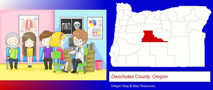 a clinic, showing a doctor and four patients; Deschutes County, Oregon highlighted in red on a map