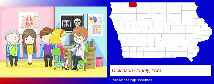 a clinic, showing a doctor and four patients; Dickinson County, Iowa highlighted in red on a map