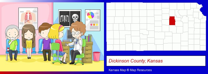 a clinic, showing a doctor and four patients; Dickinson County, Kansas highlighted in red on a map