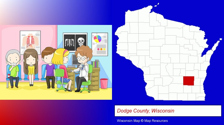 a clinic, showing a doctor and four patients; Dodge County, Wisconsin highlighted in red on a map