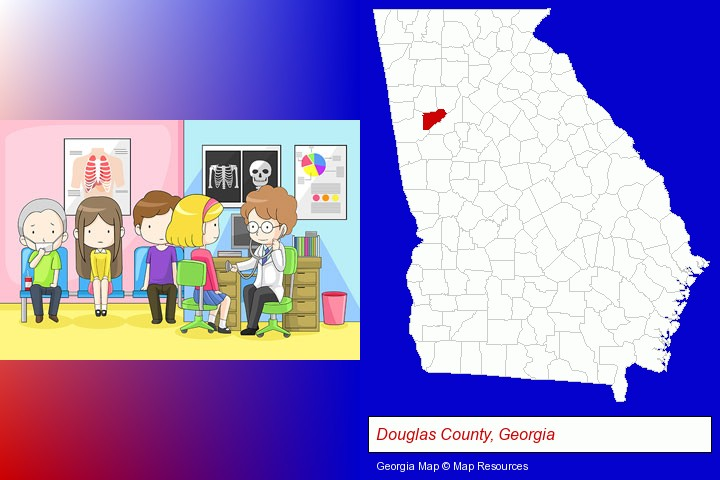 a clinic, showing a doctor and four patients; Douglas County, Georgia highlighted in red on a map