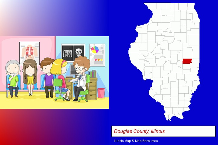a clinic, showing a doctor and four patients; Douglas County, Illinois highlighted in red on a map