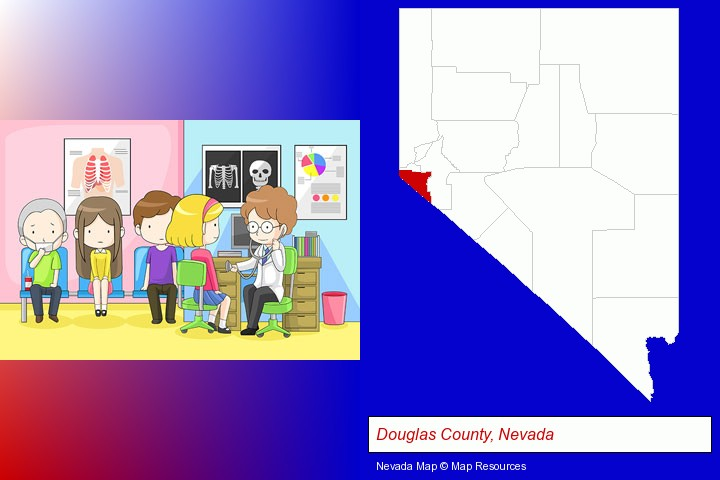 a clinic, showing a doctor and four patients; Douglas County, Nevada highlighted in red on a map