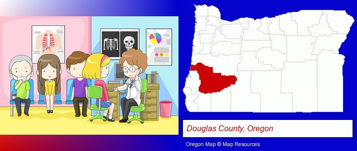 a clinic, showing a doctor and four patients; Douglas County, Oregon highlighted in red on a map