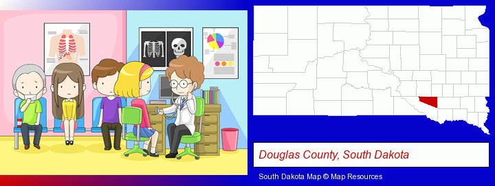 a clinic, showing a doctor and four patients; Douglas County, South Dakota highlighted in red on a map