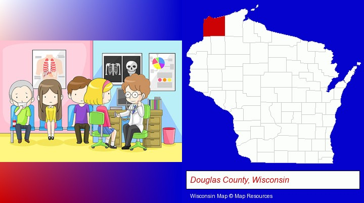 a clinic, showing a doctor and four patients; Douglas County, Wisconsin highlighted in red on a map