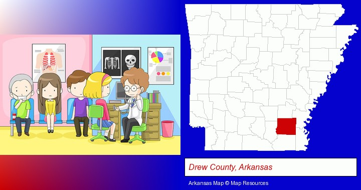 a clinic, showing a doctor and four patients; Drew County, Arkansas highlighted in red on a map
