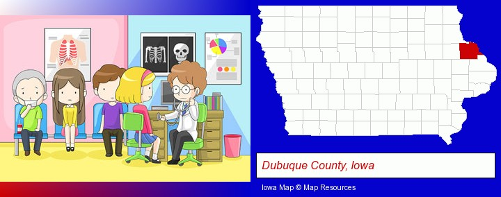 a clinic, showing a doctor and four patients; Dubuque County, Iowa highlighted in red on a map