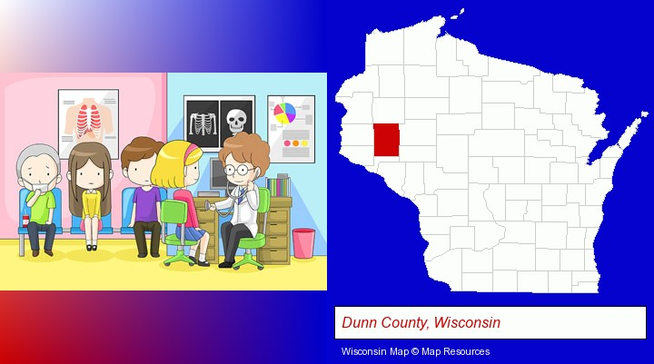 a clinic, showing a doctor and four patients; Dunn County, Wisconsin highlighted in red on a map