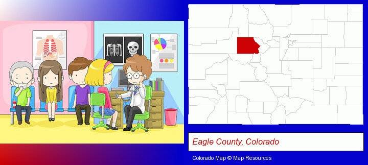 a clinic, showing a doctor and four patients; Eagle County, Colorado highlighted in red on a map